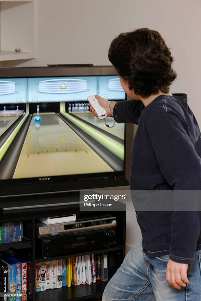 Boy Playing a Wii : Stock Photo