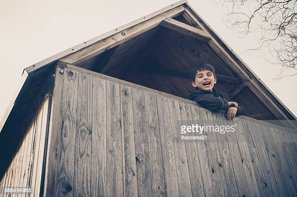 Boy playing in a tree house