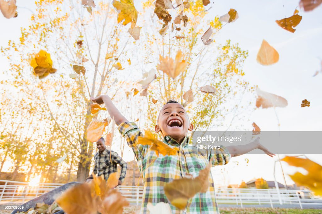 Boy playing in autumn leaves : Foto stock
