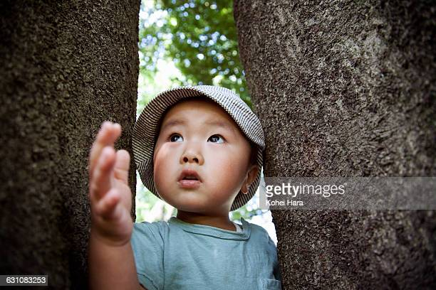 boy playing in the nature