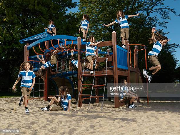 boy playing on jungle gym - digital composite stock pictures, royalty-free photos & images
