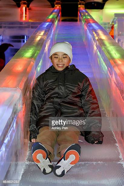 """Boy playing on the ice slide at """"Fantasy Ice World"""" on January 23, 2014 in Taipei, Taiwan. Ice sculptors from the famous Harbin Ice Festival create..."""