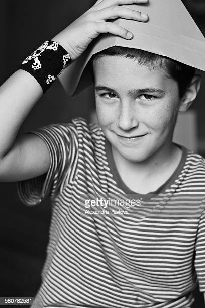 Boy playing pirates