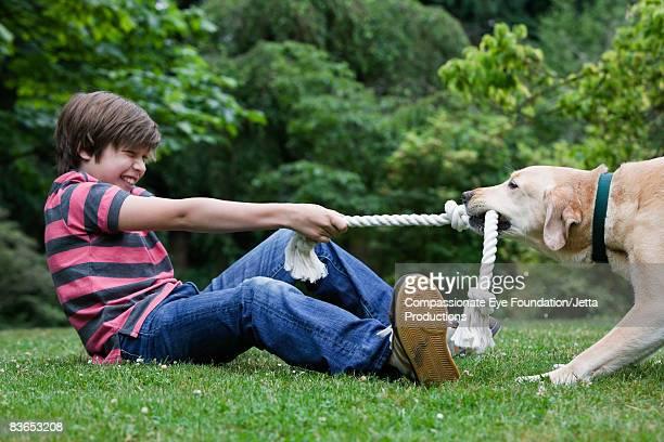 Boy playing tug-a-war with his dog
