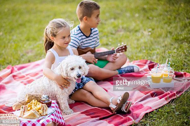 Boy playing ukulelel to his sister and their dog