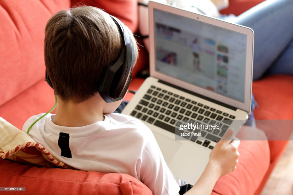 Boy Playing Video Game On Computer : Stock Photo