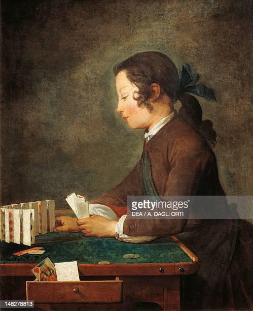 Boy playing with cards by Jean Baptiste Simeon Chardin Florence Galleria Degli Uffizi