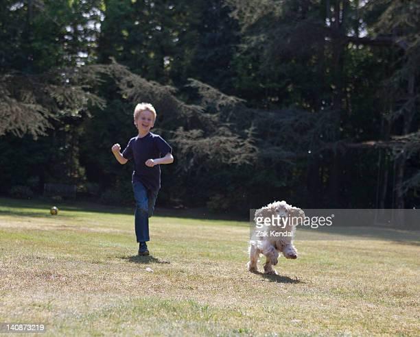 Petit garçon jouant avec un chien dans le jardin
