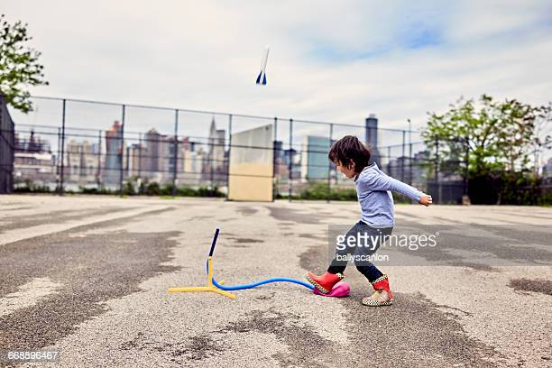 boy playing with rocket. - spaceship stock pictures, royalty-free photos & images