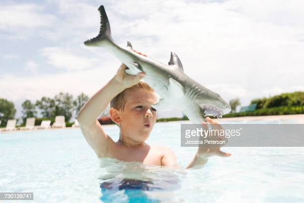 boy (6-7) playing with toy shark in swimming pool - toy animal stock photos and pictures