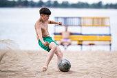 samara russia boy plays football at