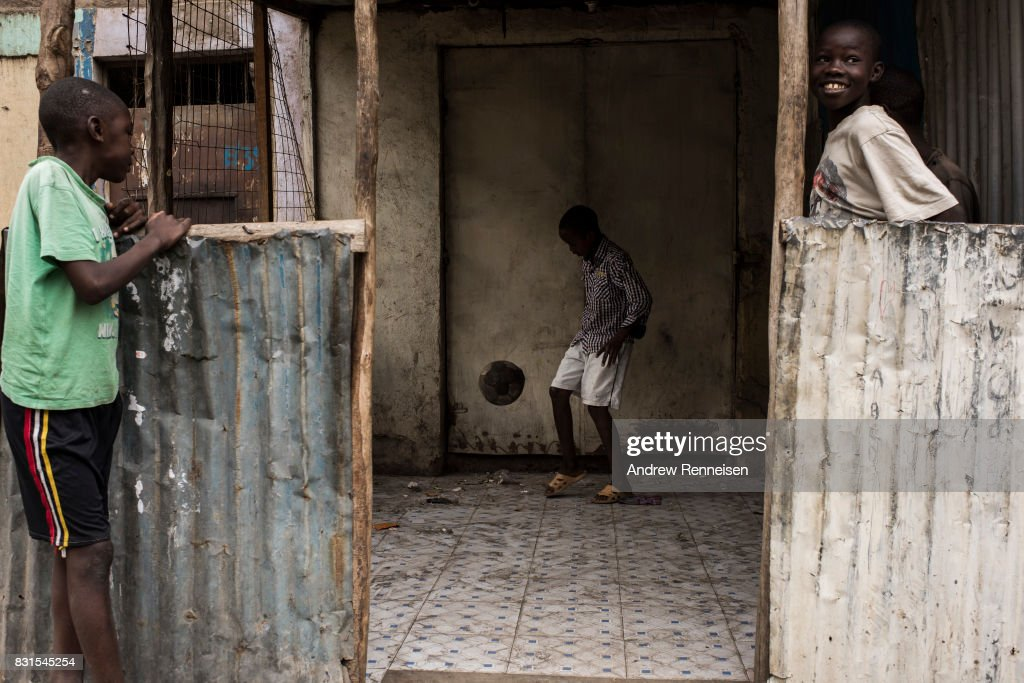 A boy plays soccer in the Mathare North neighborhood on August 14, 2017 in Nairobi, Kenya. Nairobi remained peaceful, but tensions remain high as oppositions supporters wait to hear from candidate Raila Odinga who has rejected the results that named Uhuru Kenyatta to his second term in Kenya's 2017 presidential election.
