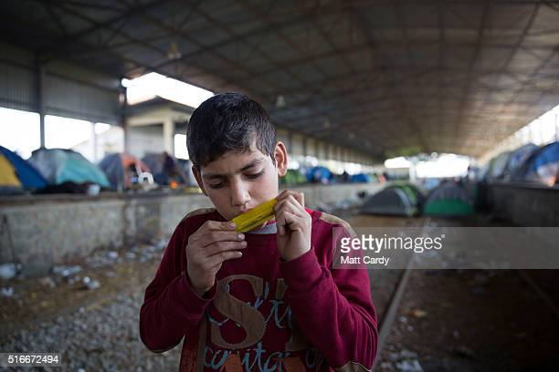 A boy plays the harmonica inside a old railway shed where people are sheltering at the Idomeni refugee camp on the Greek Macedonia border on March 20...