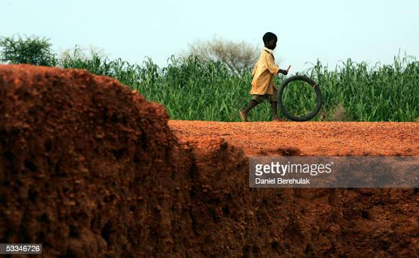 A boy plays with a bicycle wheel near a crop of millet in the village of Sadongori Kolita August 9 2005 near Maradi Nigeria The current crop is due...