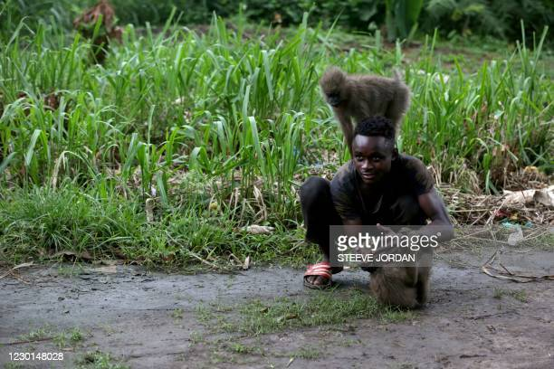 Boy plays with a monkey in the courtyard of a private residence in the Moanda district in Franceville on November 21, 2020. - Working in remote...