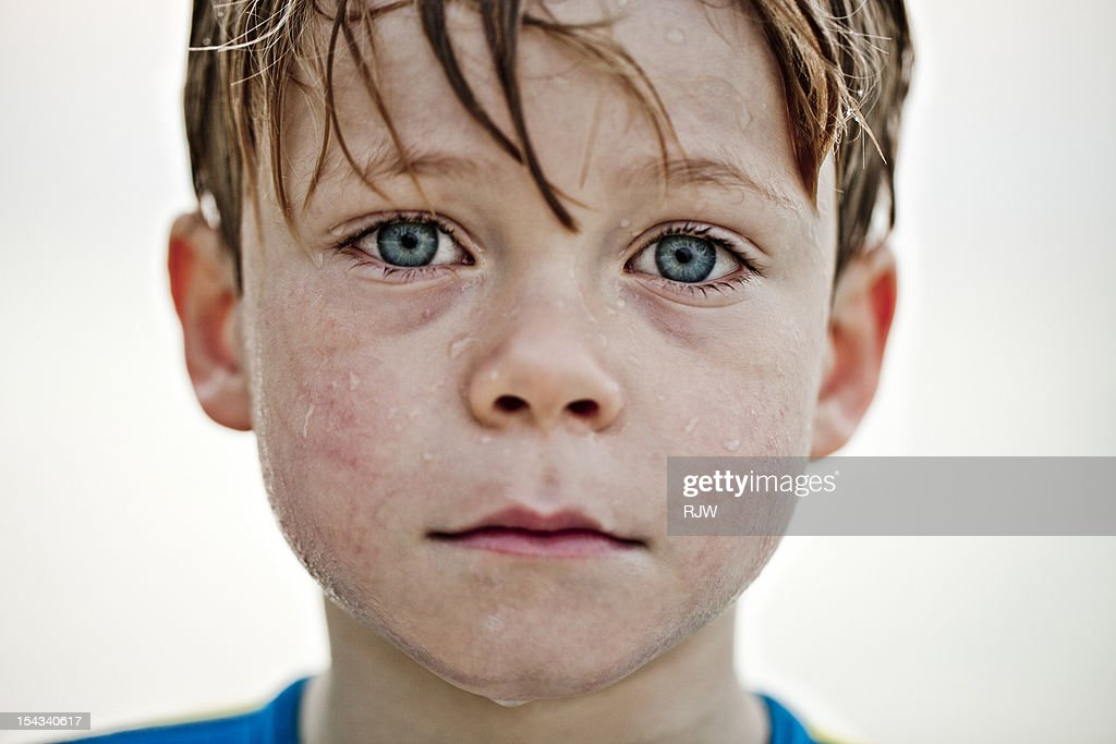 Boy Portrait wet face and hair : Stock Photo