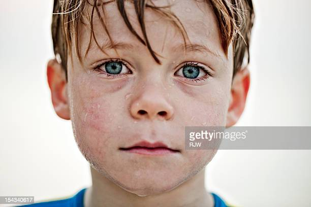 Boy Portrait wet face and hair
