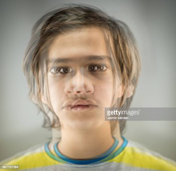 Boy portrait with multiple exposure