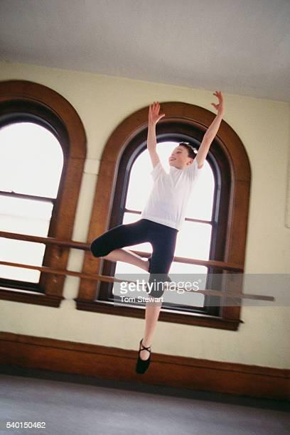 Boy Practicing Ballet Step
