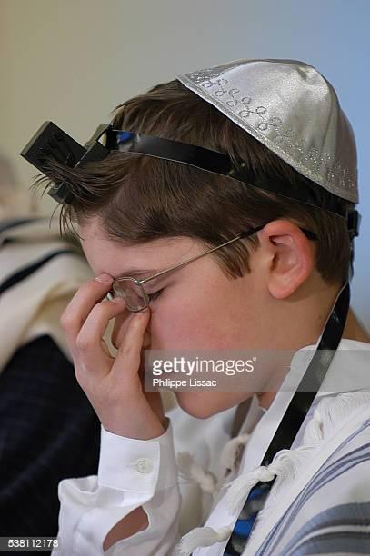 Boy Praying at Bar Mitzvah