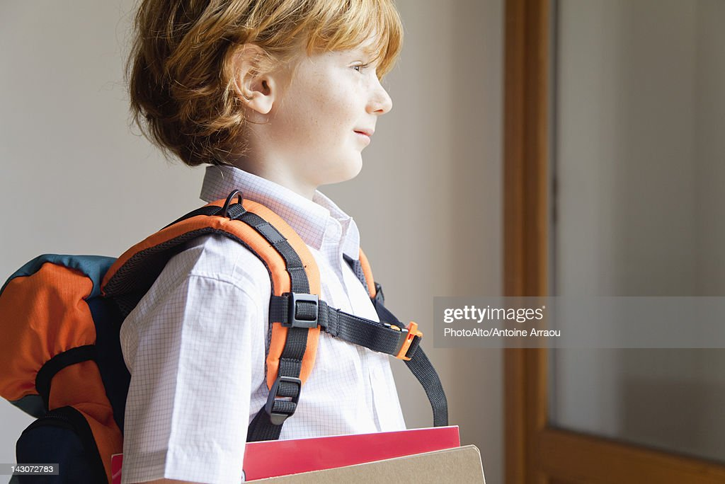 Boy prepared for school : Stock Photo