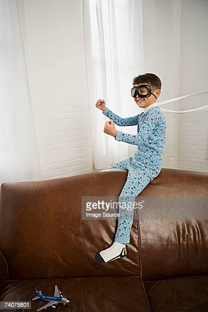 Boy pretending to fly