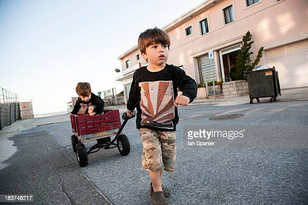 Boy pulling brother along in cart