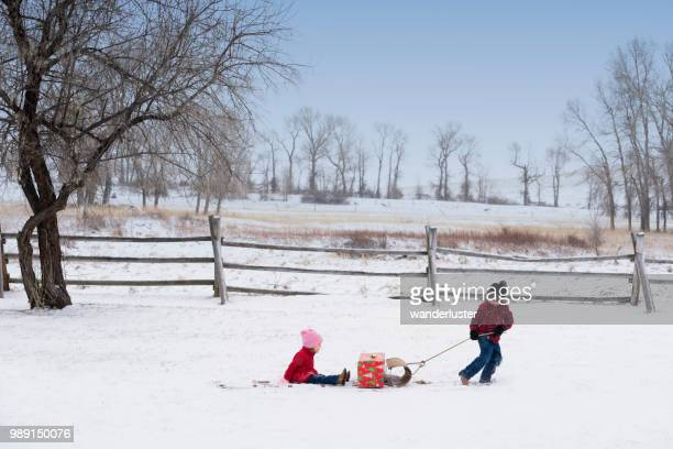 Boy pulls his toddler sister across snow in tobaggon