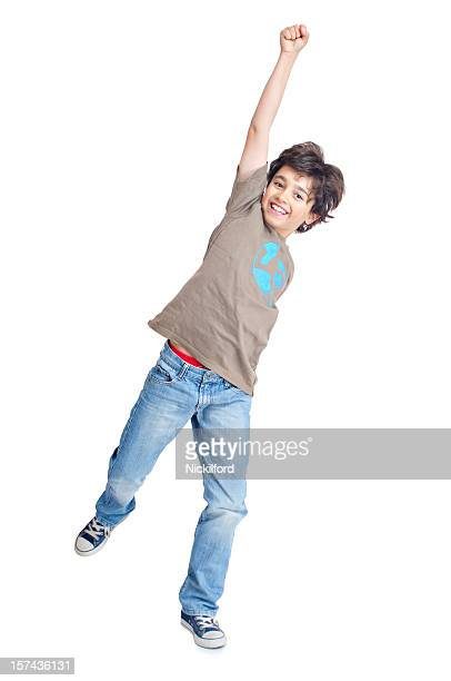 boy punching the air - punching the air stock pictures, royalty-free photos & images