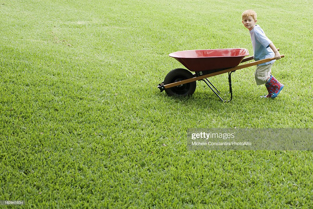 Boy pushing wheelbarrow : Stock Photo