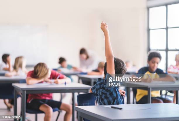 boy raising hand in classroom at elementary school - attending stock pictures, royalty-free photos & images