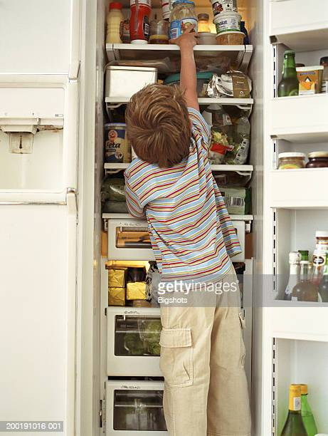 Boy (4-6) reaching up to jar in fridge, rear view
