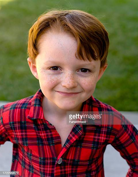 Boy Redhead, Child Freckle Face, Button Down Shirt, Christmas Morning