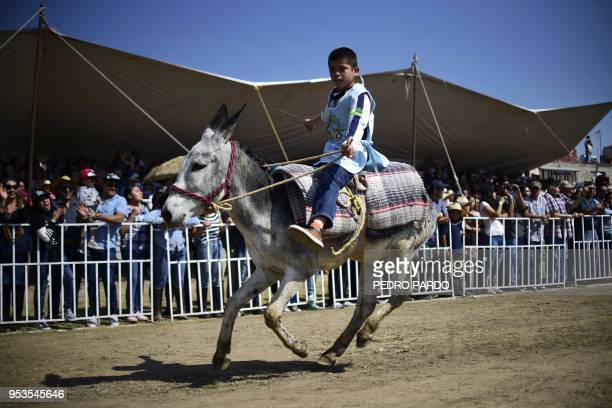 A boy rides a donkey during the National Donkey Fair in Otumba Mexico State Mexico on May 01 2018 The National Donkey Fair is held each year and...