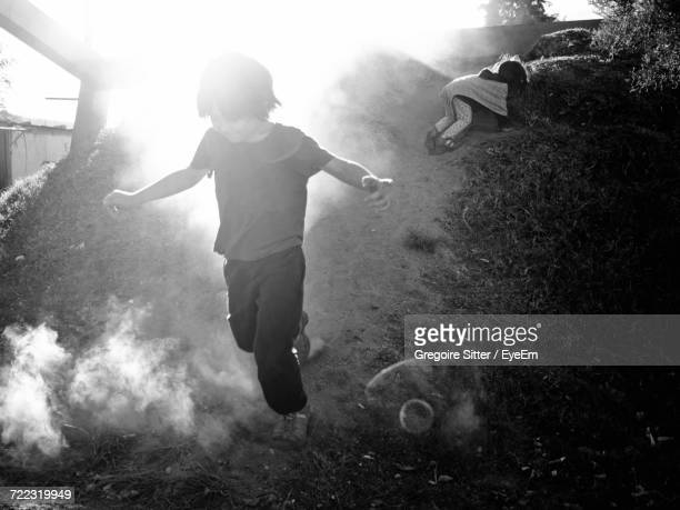 Boy Running Outdoors