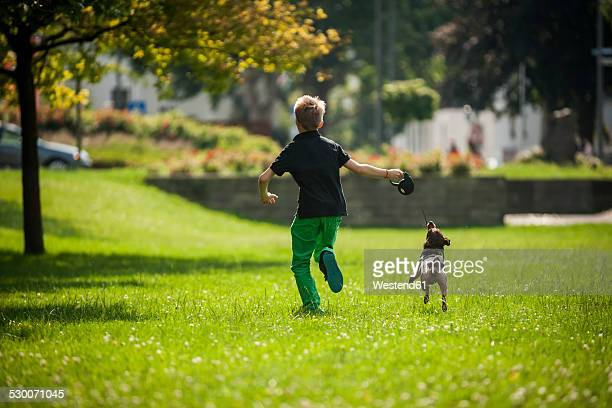 Boy running with his dog on a meadow