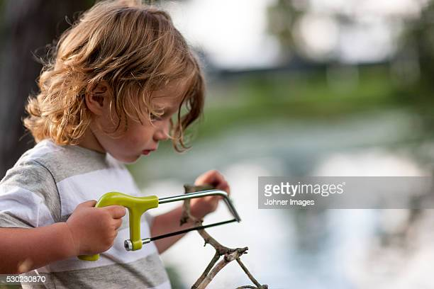 Boy sawing small branch