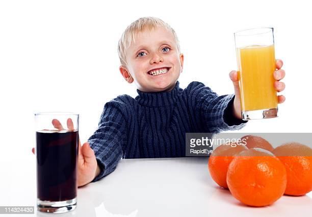 Boy says yes to healthy orange juice