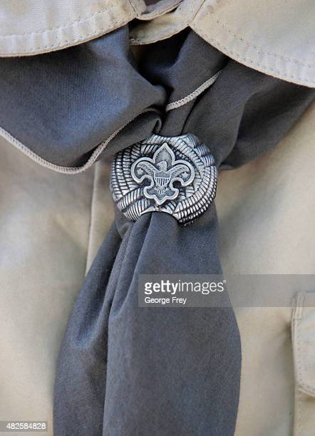 Boy Scout neckerchief is shown here at camp Maple Dell on July 31 2015 outside Payson Utah The Mormon Church is considering pulling out of its 102...