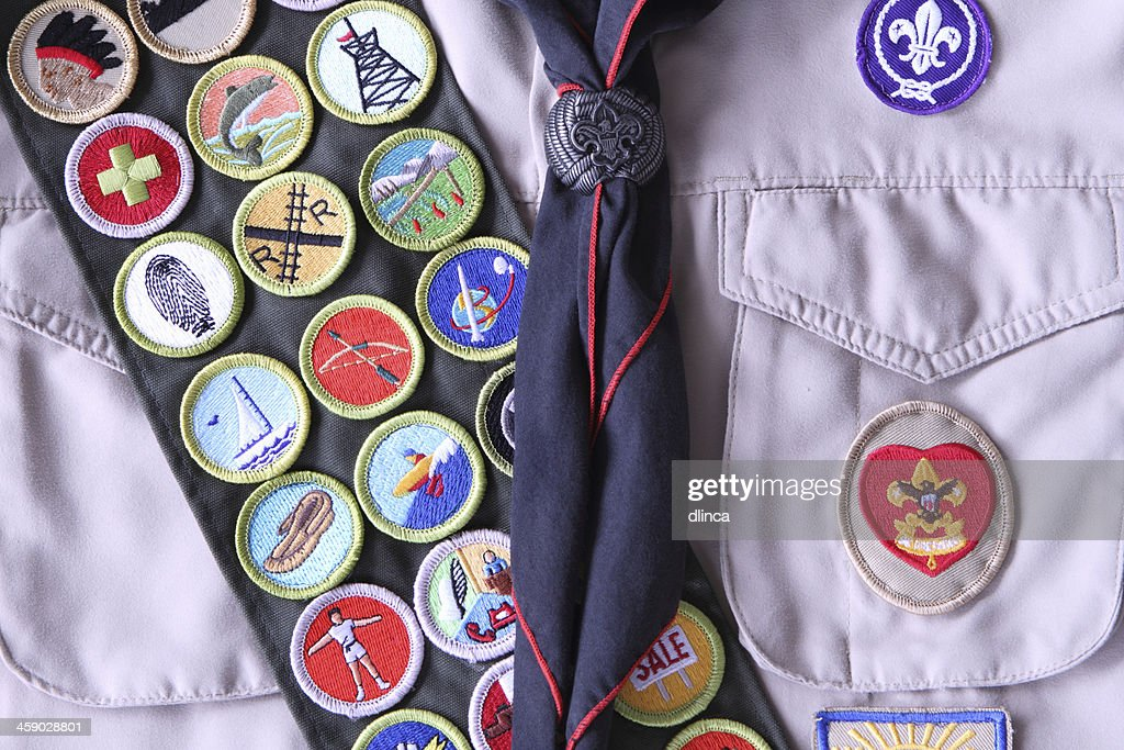 Boy Scout Shirt with Rank Badge and Merit Badges : Stock Photo