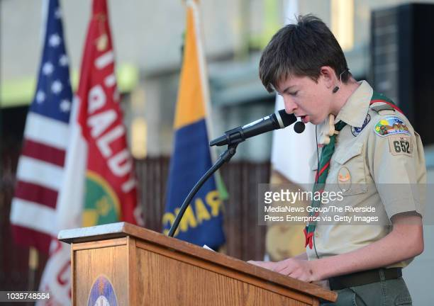 Boy Scout Tyler Foss speaks to those gathered Tuesday for a flag retirement ceremony in Ontario Cub Scout Troop Boy Scout Troop and Girl Scout Troop...