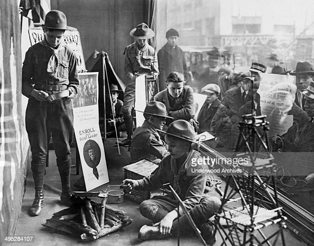 Boy Scouts camped out in the store window of Abercrombie Fitch as part of their recruitment drive for new scout members New York New York January 27...