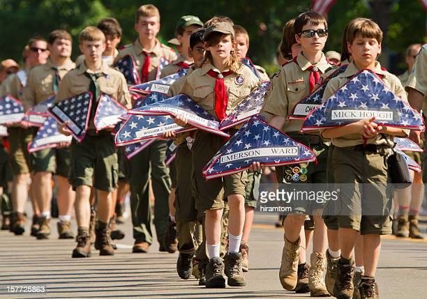 Boy Scouts Carrying Flags in Memorial Day Parade