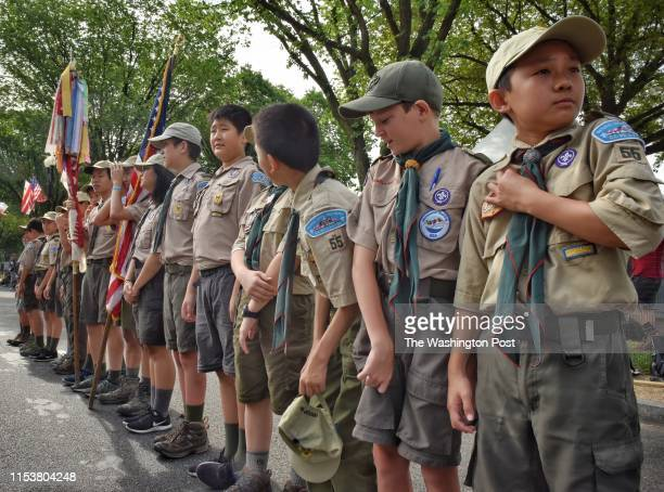 Boy Scouts from Troop 55 of Falls Church Va prepare for the approaching the National Independence Day Parade on Constitution Avenue in Washington DC...