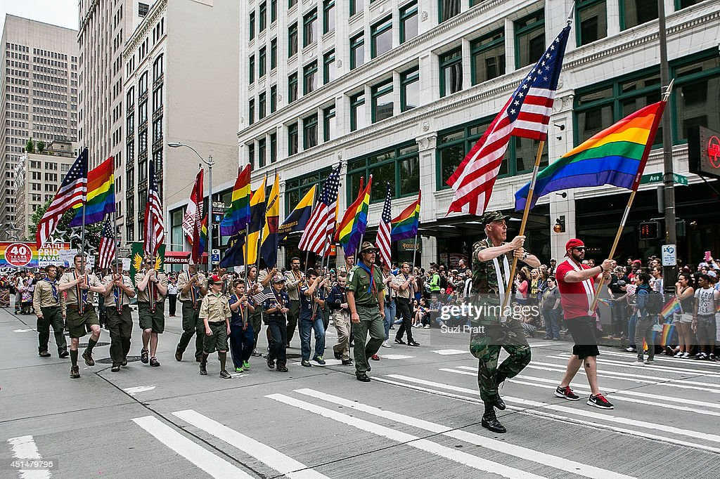 Boy Scouts troops make an apperance in the 40th annual Seattle Pride Parade on June 29, 2014 in Seattle, Washington.