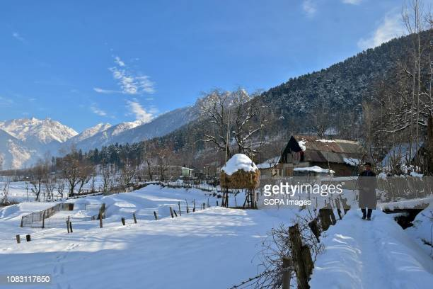 A boy seen walking through snow during a sunny winter day in Ganderbal about 50kms from Srinagar Indian administered Kashmir The valley witnessed a...