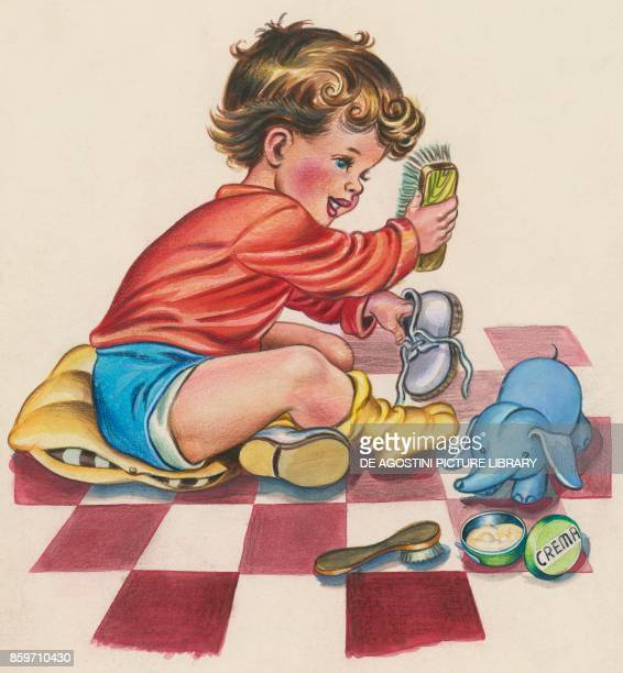 A boy shining his shoes children's illustration drawing