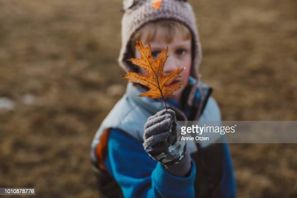 Boy Showing a Fall Leaf