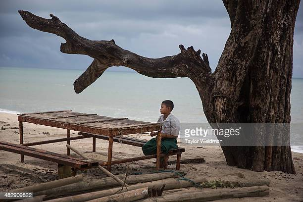 A boy sits under a tree on the beach inside the planned Dawei SEZ on August 3 2015 in Ngapitat MyanmarThe controversial multibillion dollar Dawei...