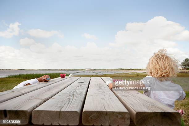 boy sitting at picnic table - picnic table stock pictures, royalty-free photos & images